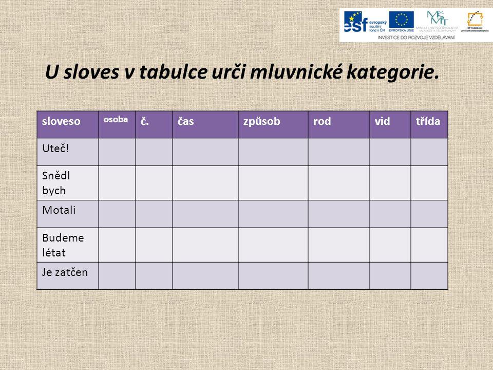 U sloves v tabulce urči mluvnické kategorie.