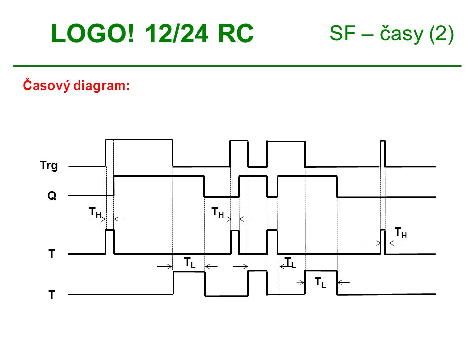 LOGO! 12/24 RC SF – časy (2) Časový diagram: Trg T Q TH TL
