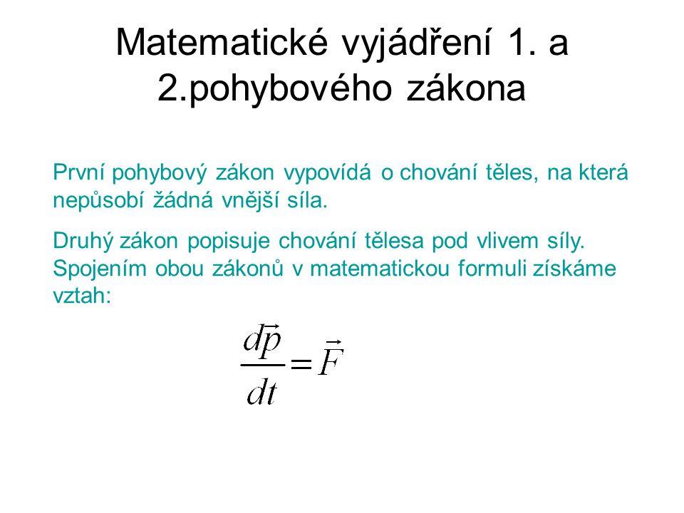 Matematické vyjádření 1. a 2.pohybového zákona