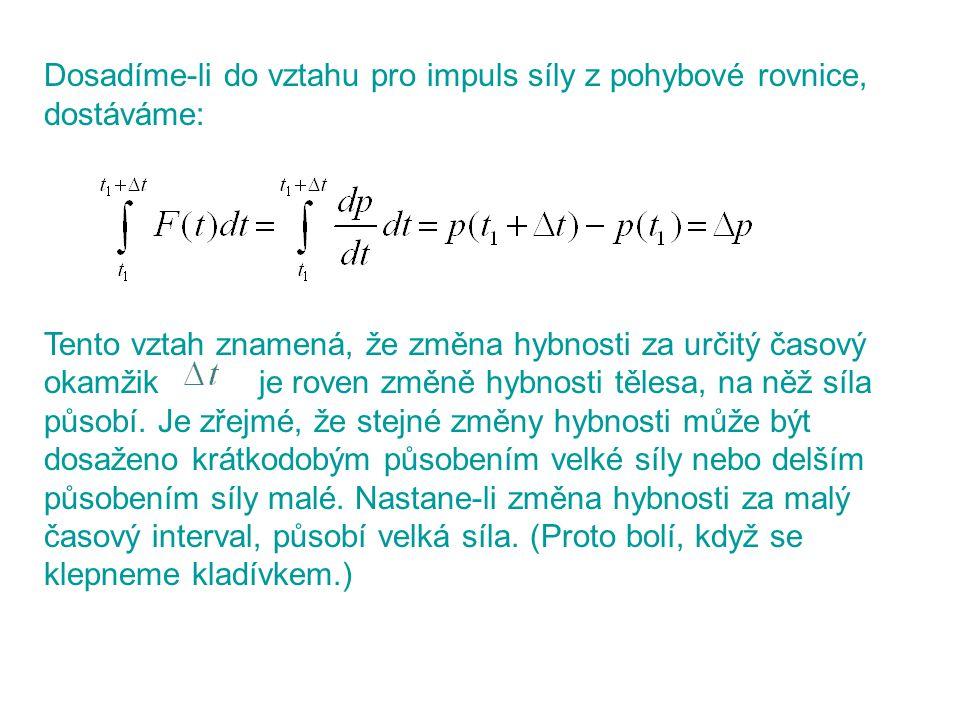 Dosadíme-li do vztahu pro impuls síly z pohybové rovnice, dostáváme: