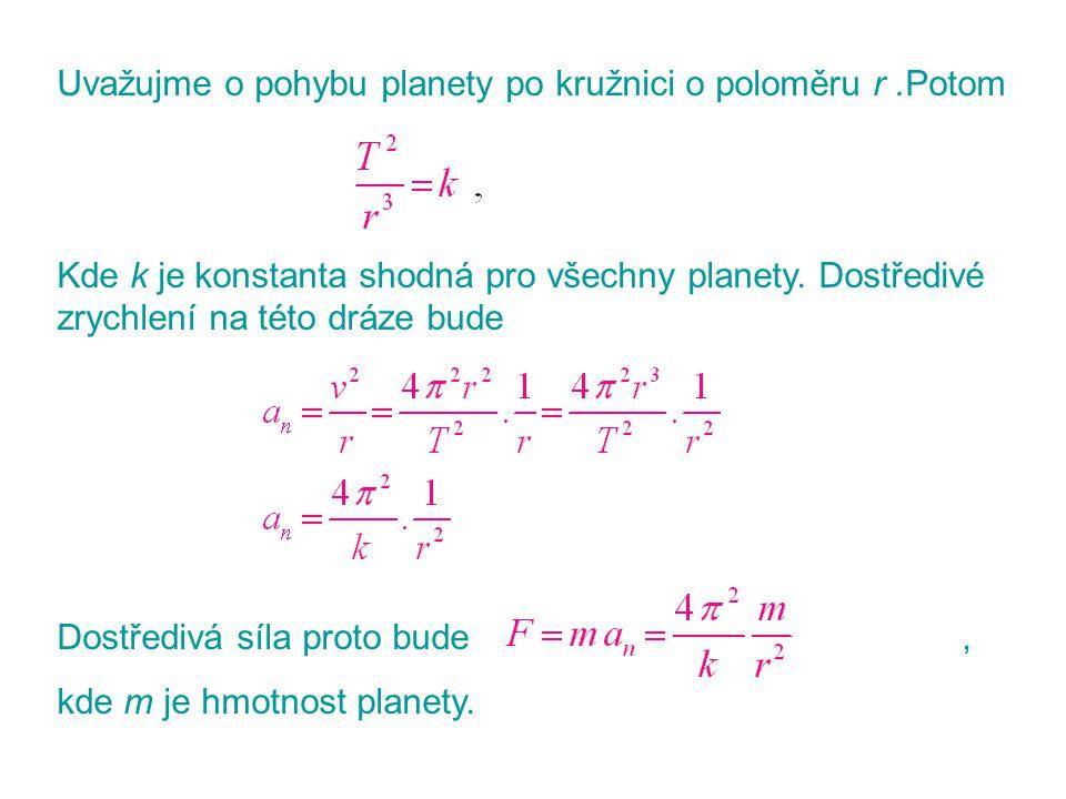 Uvažujme o pohybu planety po kružnici o poloměru r .Potom