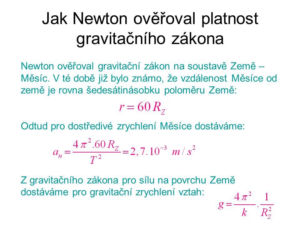 Jak Newton ověřoval platnost gravitačního zákona