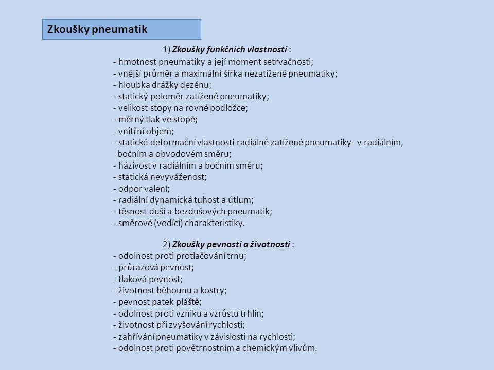 1) Zkoušky funkčních vlastností :