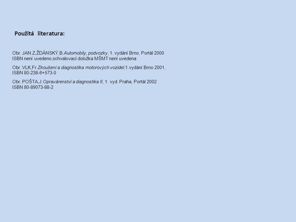 Použitá literatura: Obr. JAN.Z,ŽDÁNSKÝ,B.Automobily, podvozky, 1. vydání Brno, Portál 2000. ISBN není uvedeno,schvalovací doložka MŠMT není uvedena.