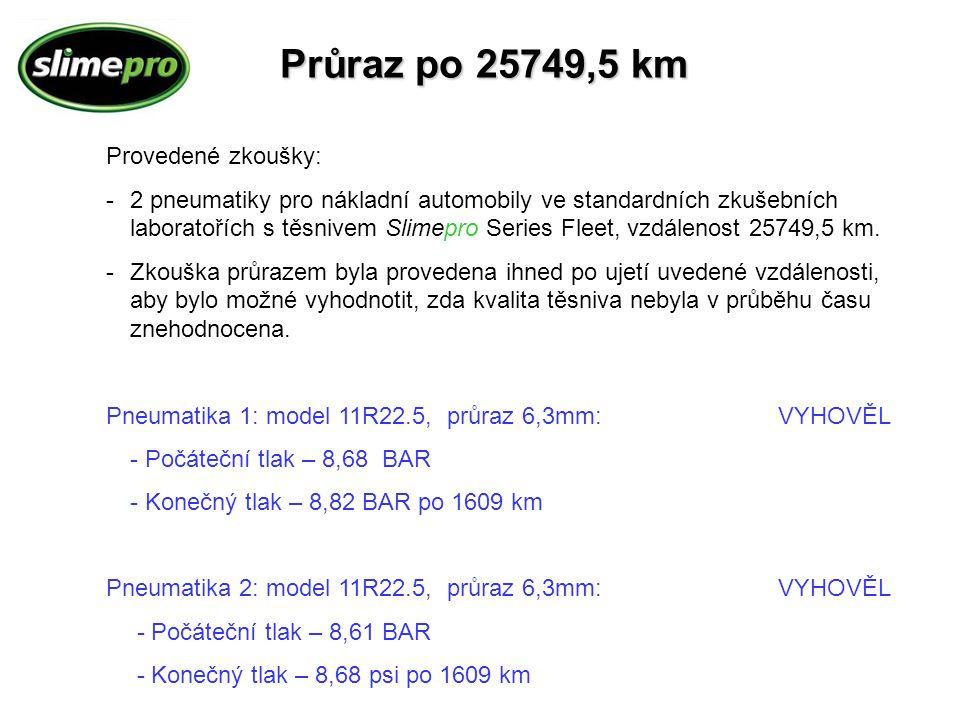 Průraz po 25749,5 km Provedené zkoušky:
