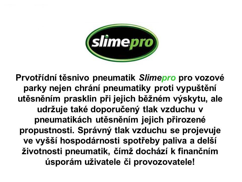 Prvotřídní těsnivo pneumatik Slimepro pro vozové parky nejen chrání pneumatiky proti vypuštění utěsněním prasklin při jejich běžném výskytu, ale udržuje také doporučený tlak vzduchu v pneumatikách utěsněním jejich přirozené propustnosti.