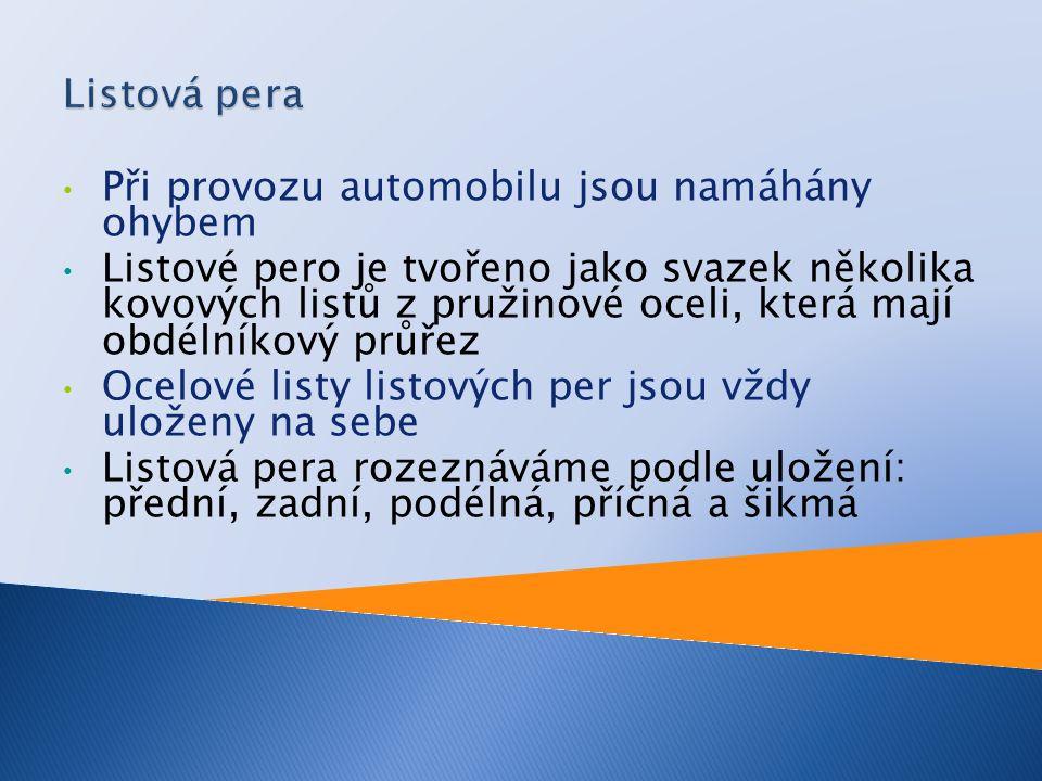 Listová pera Při provozu automobilu jsou namáhány ohybem.
