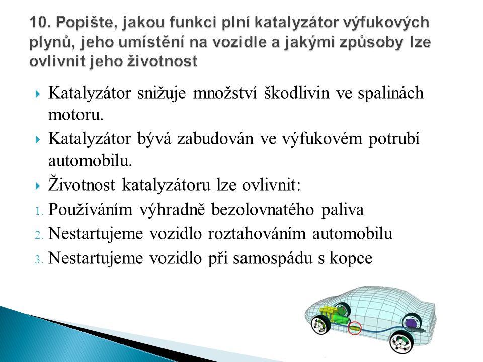 Katalyzátor snižuje množství škodlivin ve spalinách motoru.