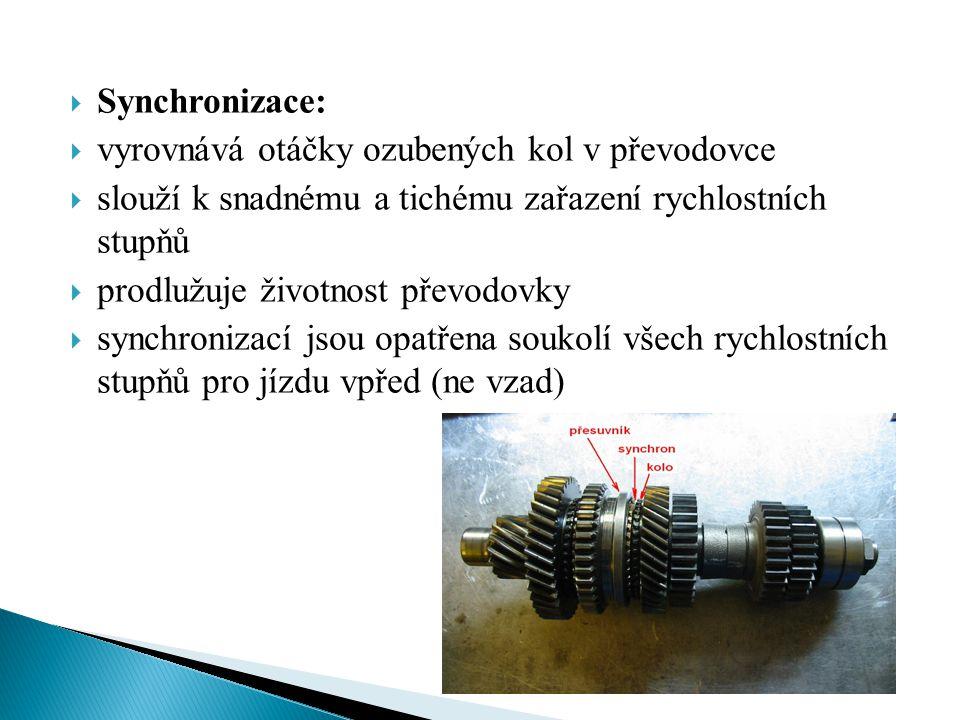 Synchronizace: vyrovnává otáčky ozubených kol v převodovce. slouží k snadnému a tichému zařazení rychlostních stupňů.