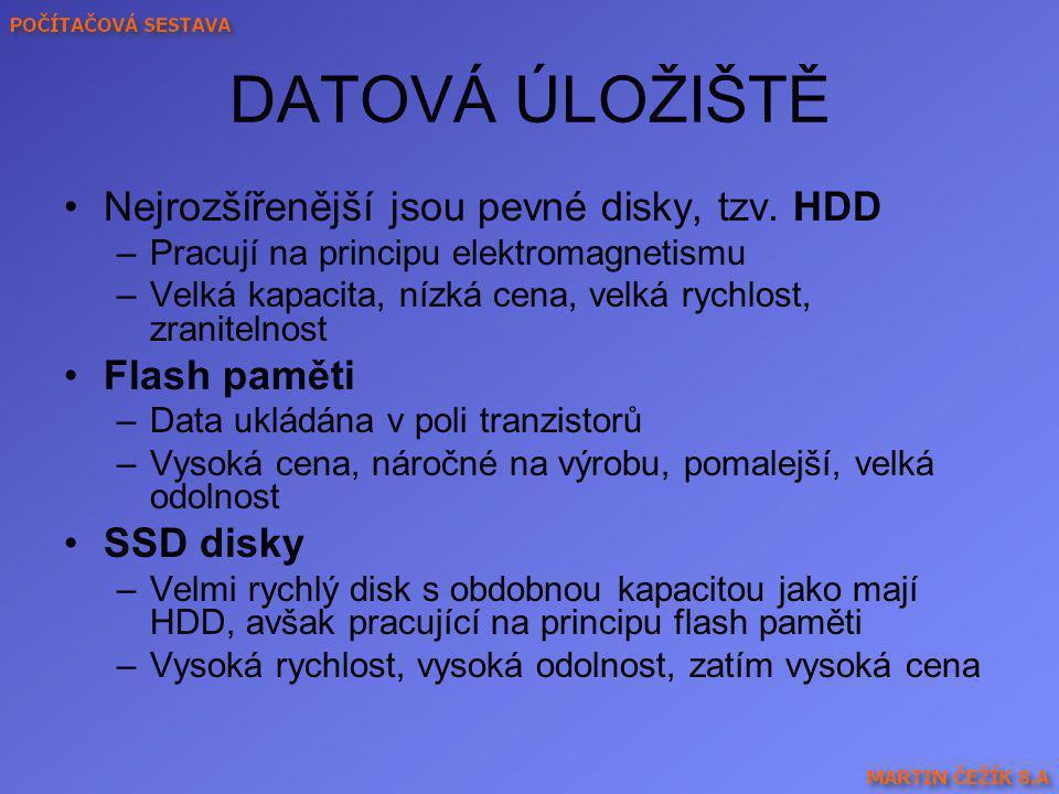 DATOVÁ ÚLOŽIŠTĚ Nejrozšířenější jsou pevné disky, tzv. HDD