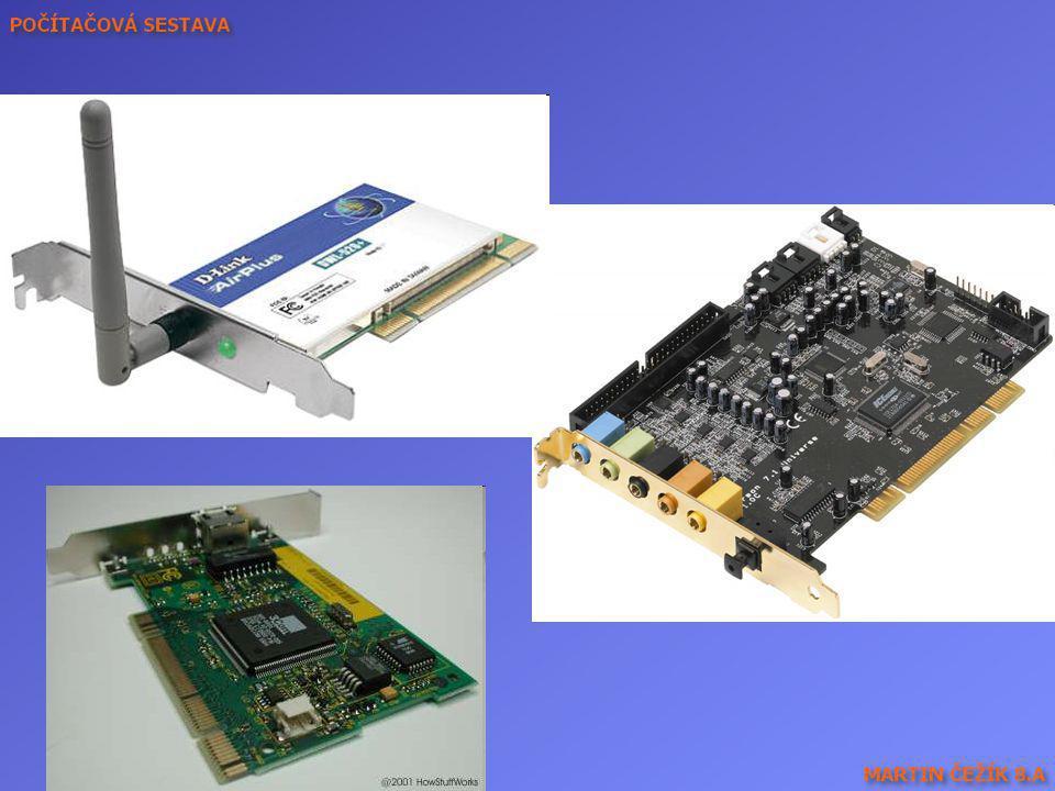 Wifi karta, zvuková karta (optický výstup), (síťová) ethernetová karta