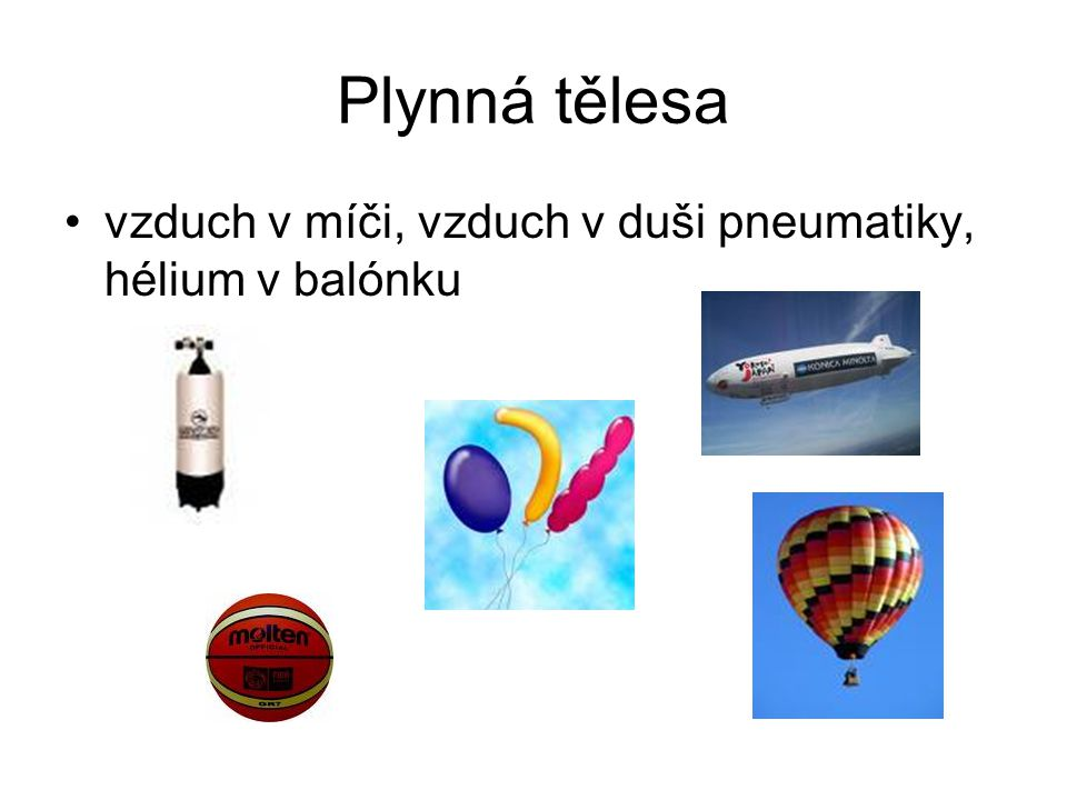 Plynná tělesa vzduch v míči, vzduch v duši pneumatiky, hélium v balónku