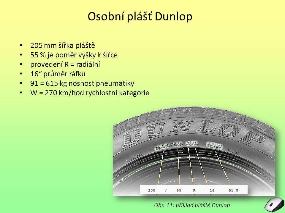Osobní plášť Dunlop 205 mm šířka pláště 55 % je poměr výšky k šířce