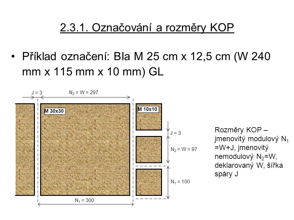 2.3.1. Označování a rozměry KOP