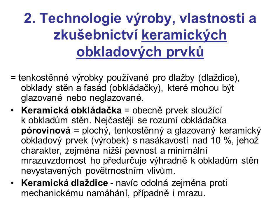 2. Technologie výroby, vlastnosti a zkušebnictví keramických obkladových prvků