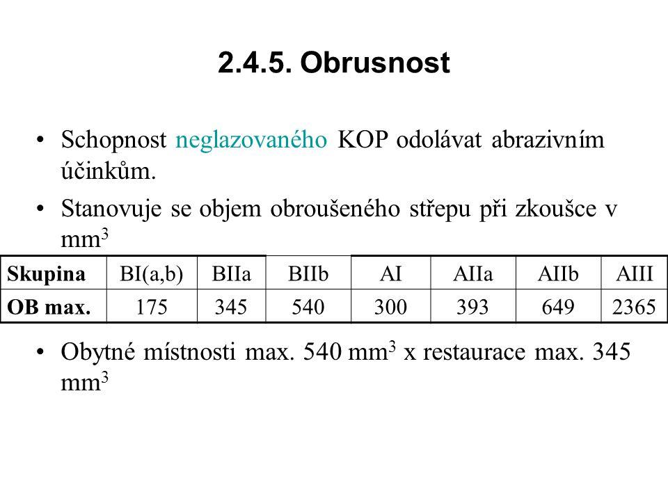 2.4.5. Obrusnost Schopnost neglazovaného KOP odolávat abrazivním účinkům. Stanovuje se objem obroušeného střepu při zkoušce v mm3.