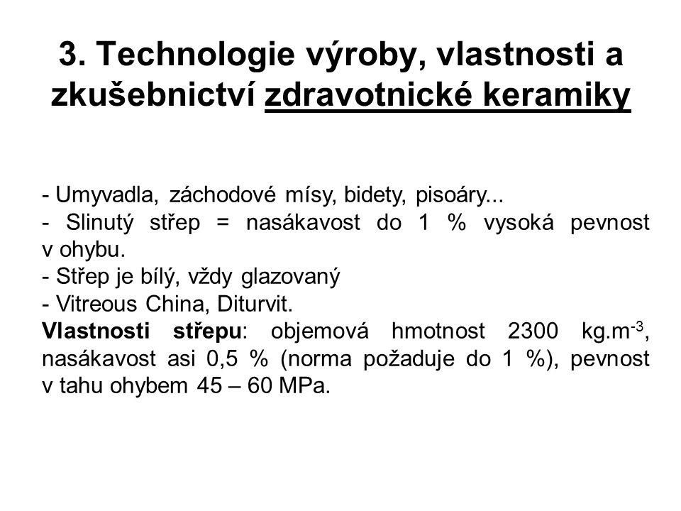 3. Technologie výroby, vlastnosti a zkušebnictví zdravotnické keramiky