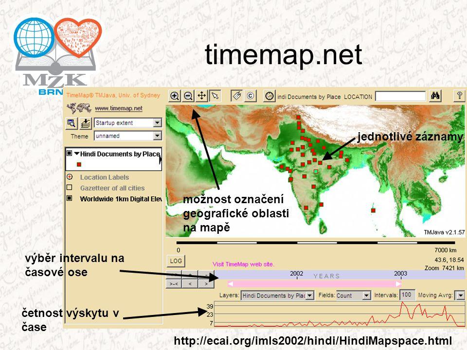 timemap.net jednotlivé záznamy