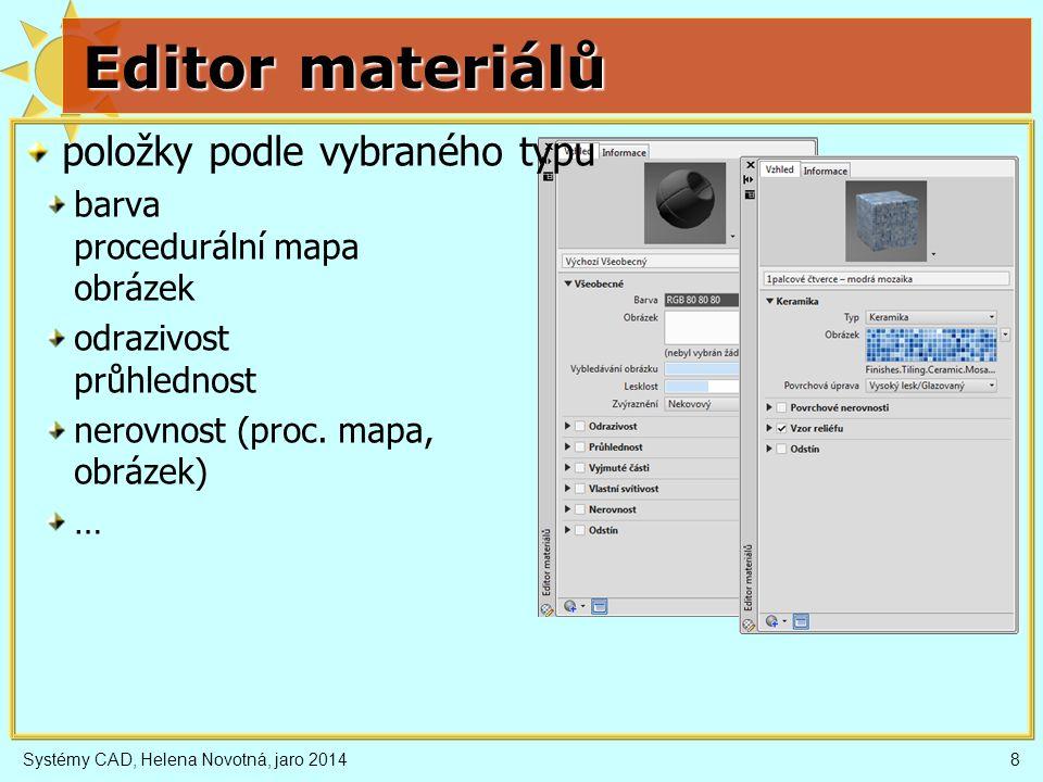 Editor materiálů položky podle vybraného typu