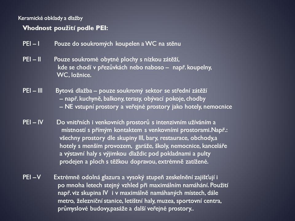 Vhodnost použití podle PEI: