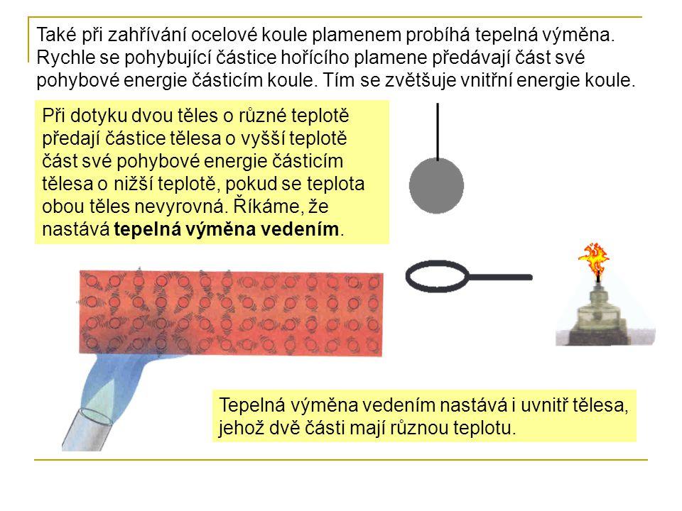 Také při zahřívání ocelové koule plamenem probíhá tepelná výměna