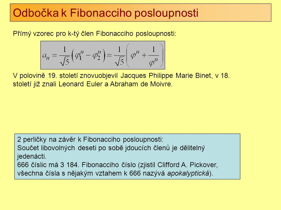 Odbočka k Fibonacciho posloupnosti