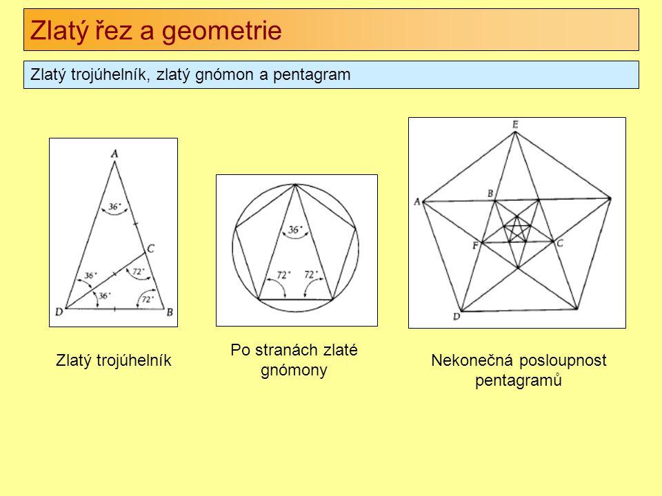 Zlatý řez a geometrie Zlatý trojúhelník, zlatý gnómon a pentagram