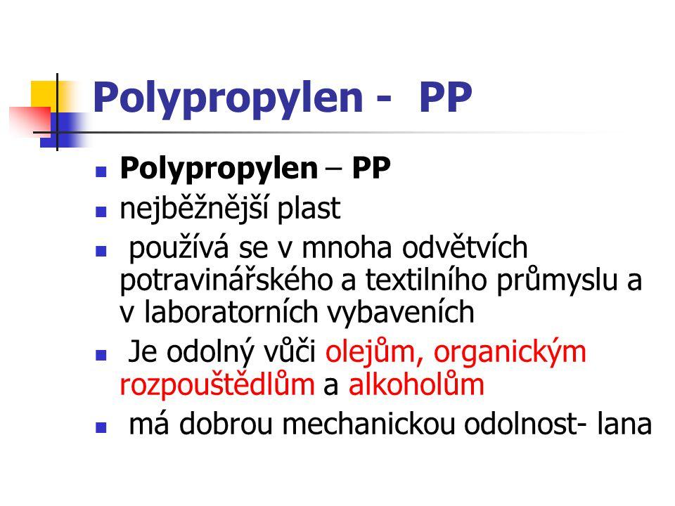 Polypropylen - PP Polypropylen – PP nejběžnější plast