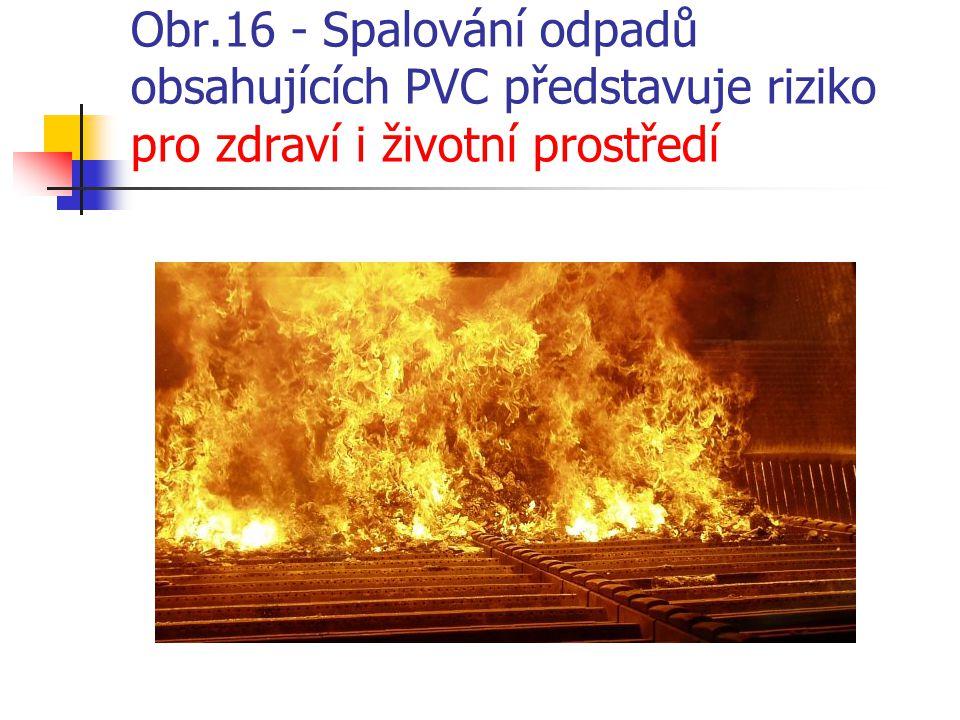 Obr.16 - Spalování odpadů obsahujících PVC představuje riziko pro zdraví i životní prostředí