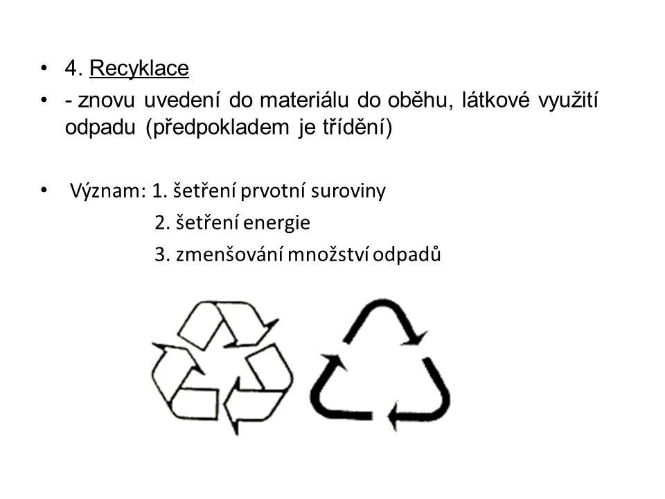 4. Recyklace - znovu uvedení do materiálu do oběhu, látkové využití odpadu (předpokladem je třídění)