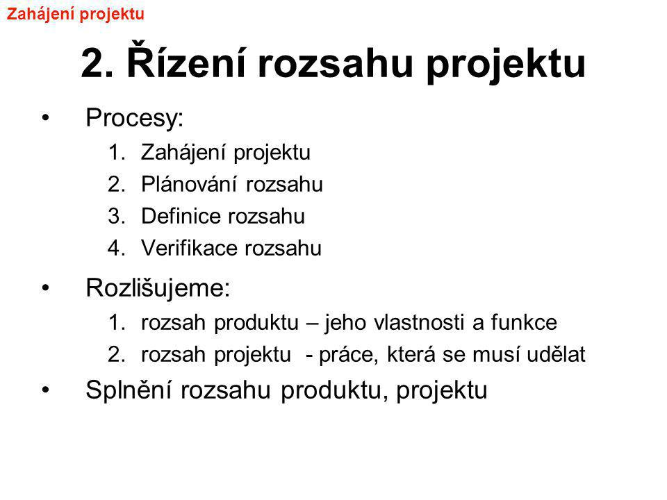 2. Řízení rozsahu projektu