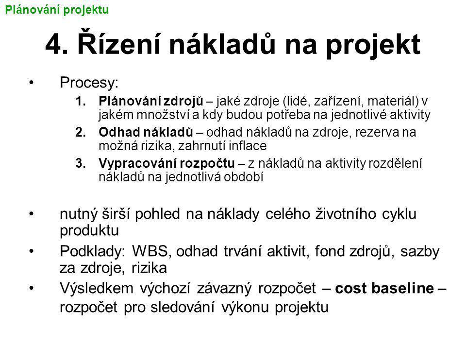 4. Řízení nákladů na projekt