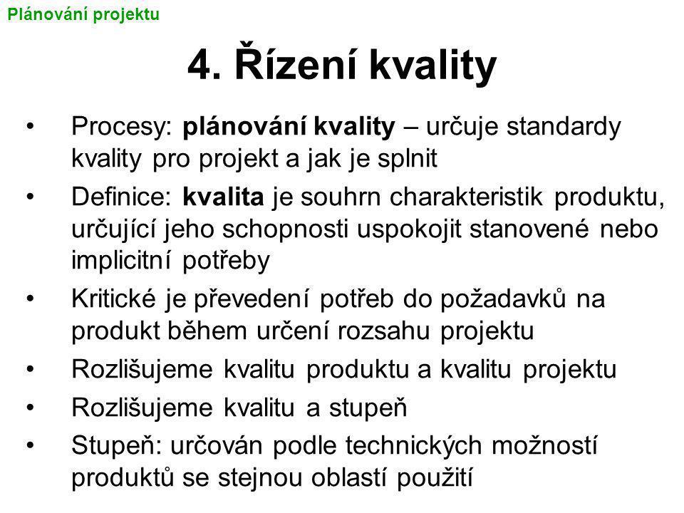 Plánování projektu 4. Řízení kvality. Procesy: plánování kvality – určuje standardy kvality pro projekt a jak je splnit.