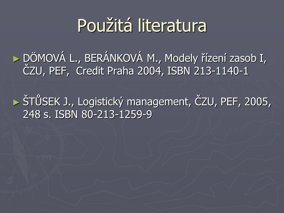 Použitá literatura DÖMOVÁ L., BERÁNKOVÁ M., Modely řízení zasob I, ČZU, PEF, Credit Praha 2004, ISBN 213-1140-1.