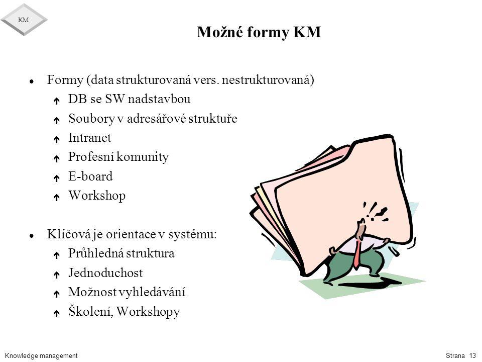 Možné formy KM Formy (data strukturovaná vers. nestrukturovaná)