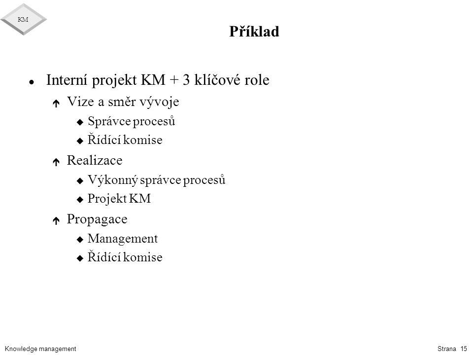 Interní projekt KM + 3 klíčové role