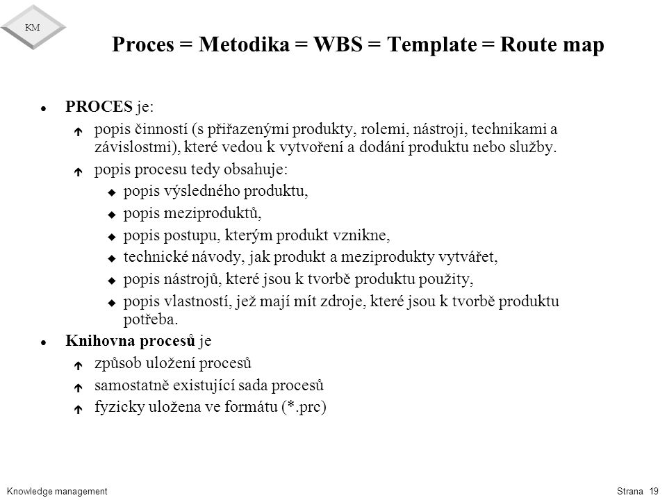 Proces = Metodika = WBS = Template = Route map