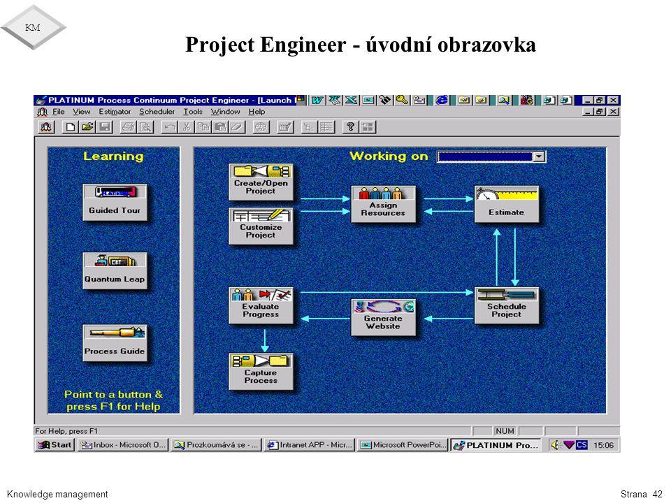 Project Engineer - úvodní obrazovka