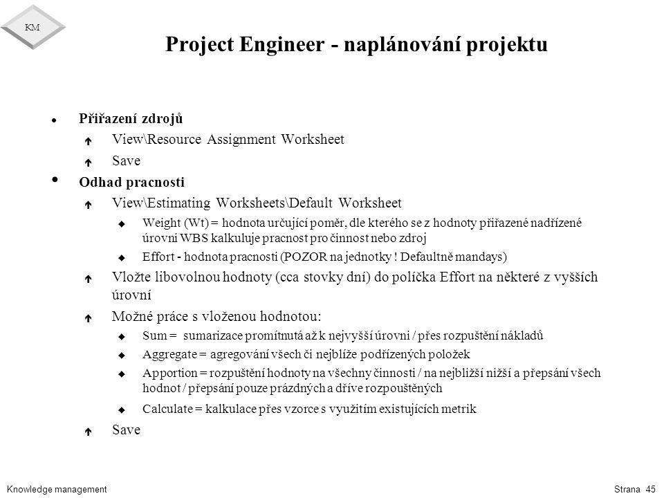 Project Engineer - naplánování projektu