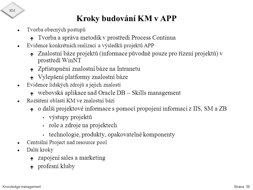 Kroky budování KM v APP Tvorba obecných postupů. Tvorba a správa metodik v prostředí Process Continua.