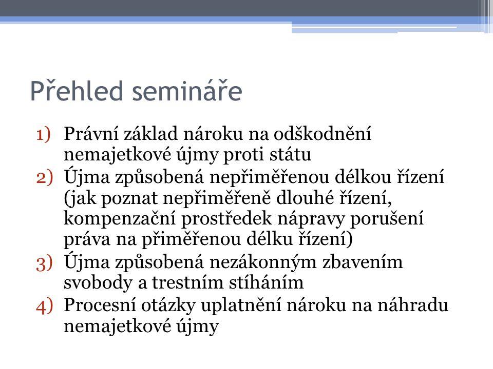 Přehled semináře Právní základ nároku na odškodnění nemajetkové újmy proti státu.