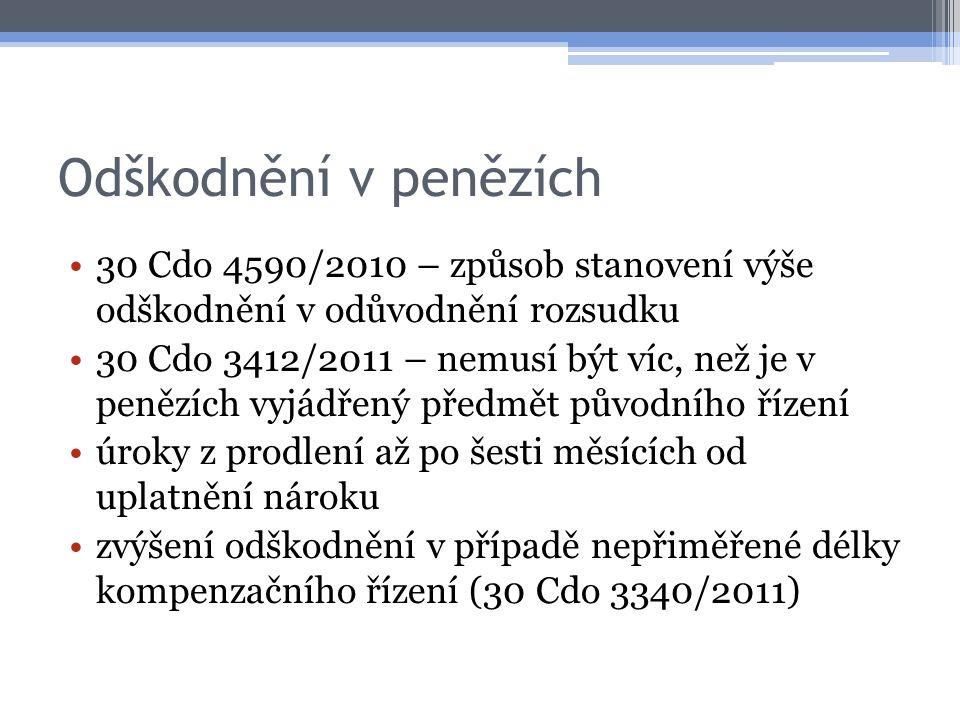 Odškodnění v penězích 30 Cdo 4590/2010 – způsob stanovení výše odškodnění v odůvodnění rozsudku.