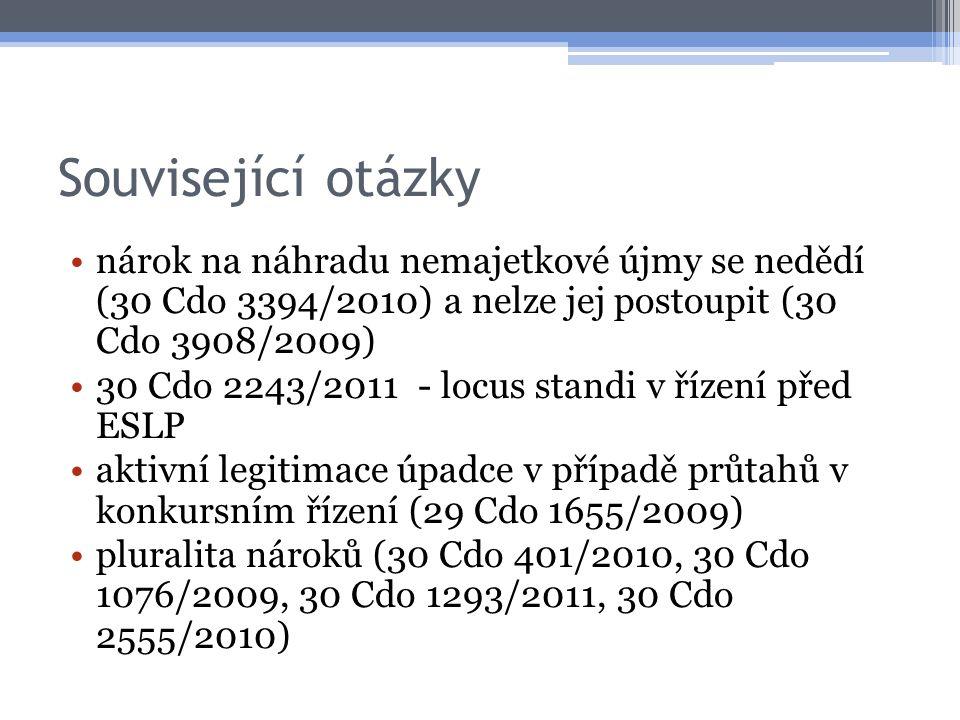 Související otázky nárok na náhradu nemajetkové újmy se nedědí (30 Cdo 3394/2010) a nelze jej postoupit (30 Cdo 3908/2009)