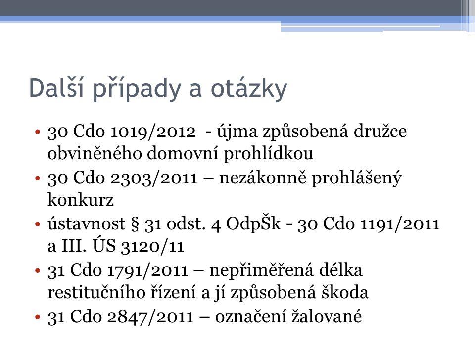 Další případy a otázky 30 Cdo 1019/2012 - újma způsobená družce obviněného domovní prohlídkou. 30 Cdo 2303/2011 – nezákonně prohlášený konkurz.