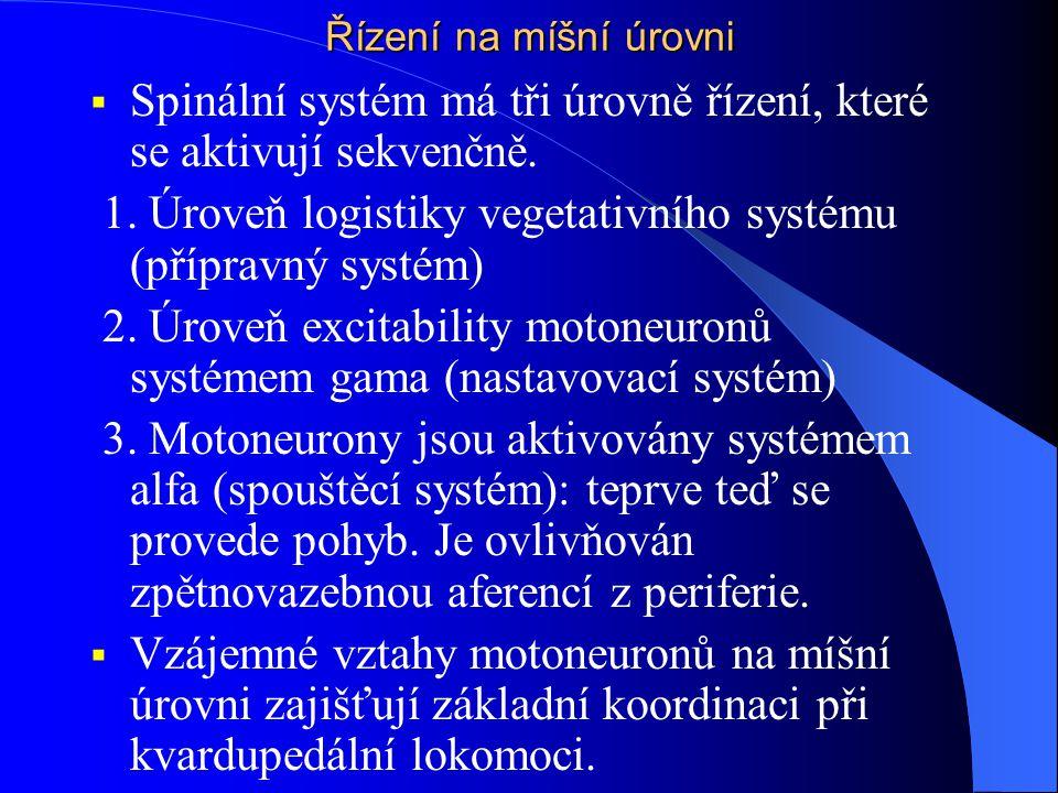 Spinální systém má tři úrovně řízení, které se aktivují sekvenčně.