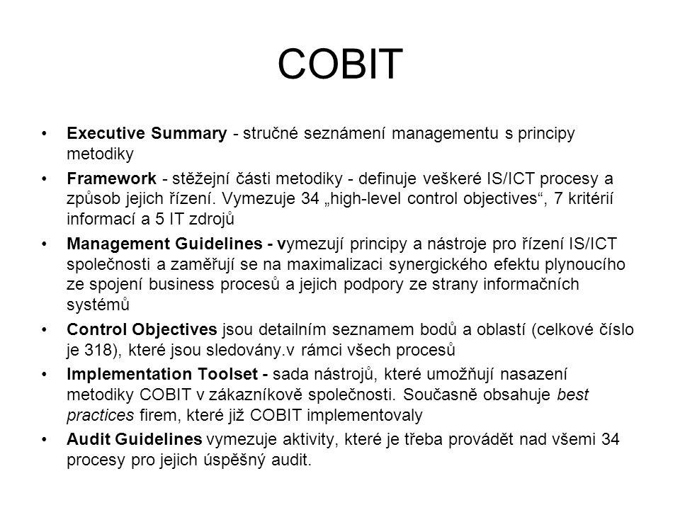 COBIT Executive Summary - stručné seznámení managementu s principy metodiky.