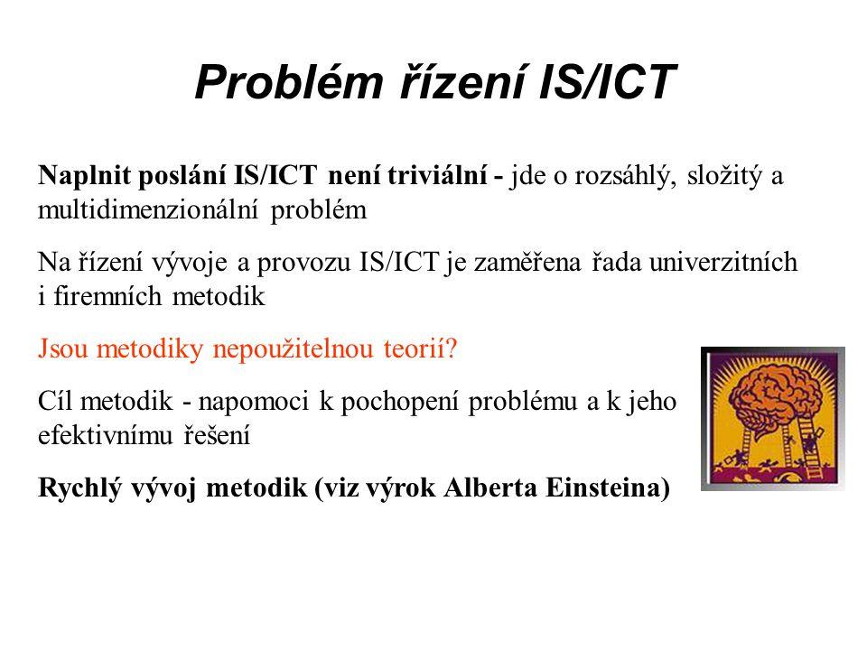 Problém řízení IS/ICT Naplnit poslání IS/ICT není triviální - jde o rozsáhlý, složitý a multidimenzionální problém.