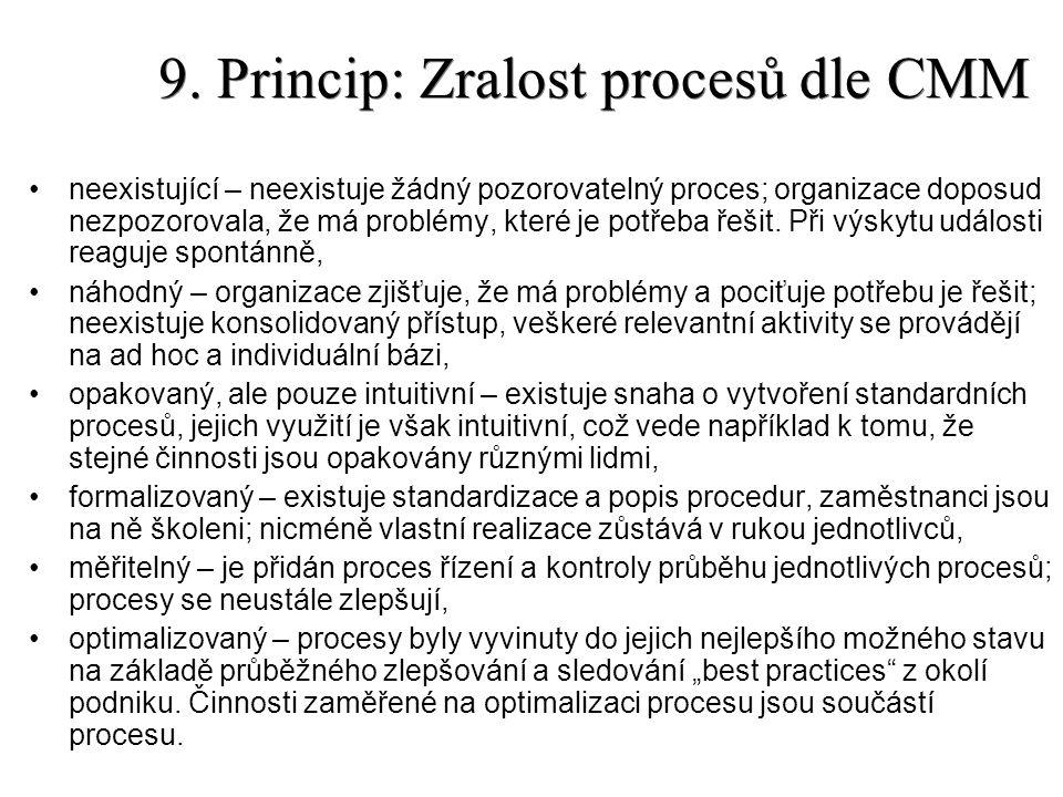 9. Princip: Zralost procesů dle CMM