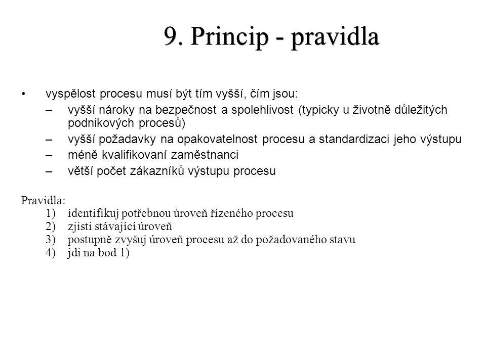 9. Princip - pravidla vyspělost procesu musí být tím vyšší, čím jsou:
