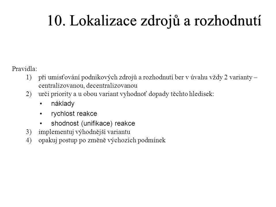 10. Lokalizace zdrojů a rozhodnutí